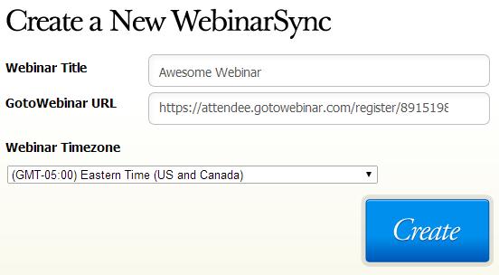 Create a WebinarSync using your GoToWebinar registration URL