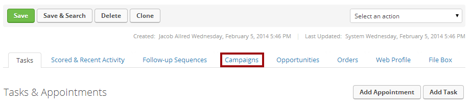 Click the Campaigns tab in the bottom row of tabs.